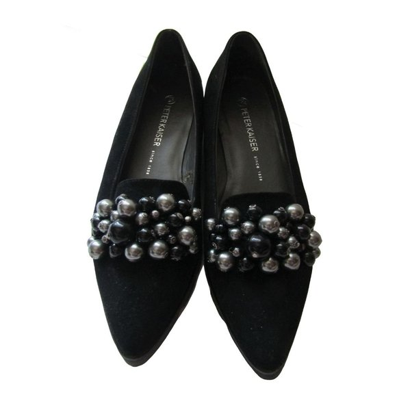 Peter Kaiser Black Suede Loafers 7.5 (US 10)